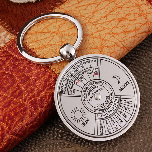 HOT Calendar Keychain Unique Metal Keys Chain Ring