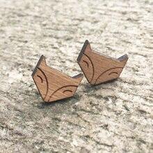 Cute Fox Solid Wood Engraved Earrings Lovely Fox Stud Animal Earring Wooden Earring Handmade Earrings X 1 Pair