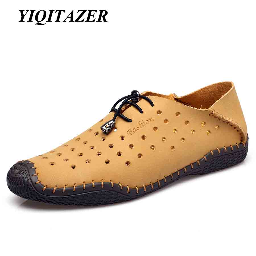 YIQITAZER 2018. Ljeto Novi dizajn Polka Dot casual cipele Muške kožne cipele, Ručno izrađene prozračne prozračne hladne cipele Muške cipele