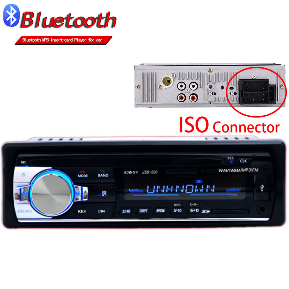Autoradio ISO Bluetooth Car Stereo In-dash 1 Din Car Radio JSD520 FM Aux Input Receiver SD USB MP3 MMC WMA 12V Car Audio