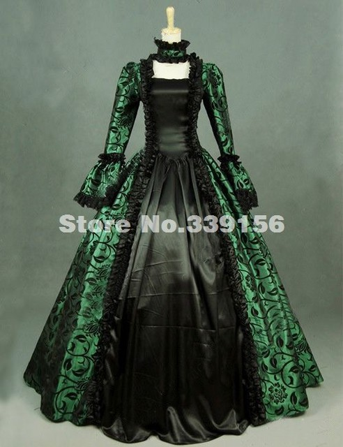 Hot Sale 18th Century Green Print Victorian Brocade Steampunk Dress ...