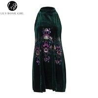 Lily Rosie Girl Sequins Embroidery Green Women Dresses Sleeveless Halter Mini Sexy Dress Velvet Spring 2018
