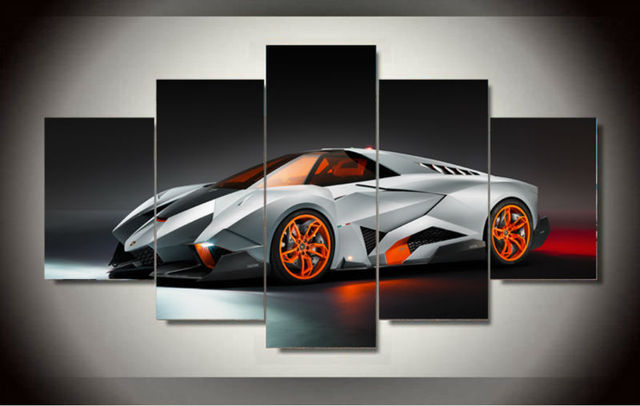 Hd Wall Art Picture Gift Unframed 5panel Cool Silvery White Sports Car Top  Rated Canvas