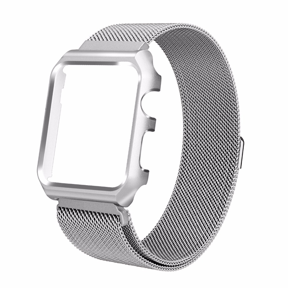 Milanese Loop Bracelet Watch Band Strap with Metal Case Replacement for Apple Watch iWatch Series 1/ Series 2 38mm 42mm
