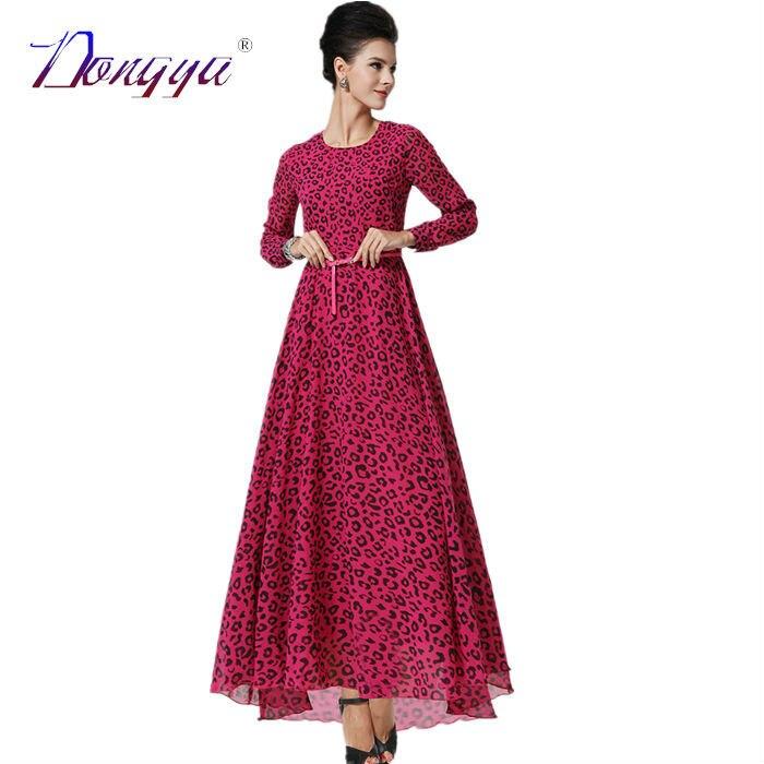 235aad11495 Casual Long Sleeve Maxi Dress Women New Chiffon Dress Winter Fit And Flare  Leopard Dress Red Formal Dresses 2016 Vestido Longo-in Dresses from Women s  ...