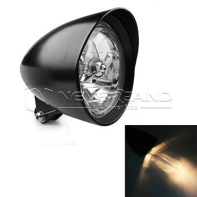 5 3/4 Bullet Motorcycle Headlight Head Lamp for Harley Bobber Chopper Dyna Black D10