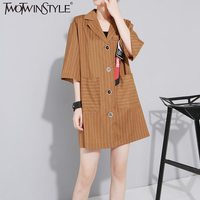 TWOTWINSTYLE Autumn New Women Khaki Stripe Short Style Dress Pockets Casual Female Suits Turn Down Collar