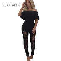 RUTIGEFU 2017 Sexy Womens Jumpsuit Summer Fashion Spandex Bodysuit Women Strapless Flounced Spider Web Holes Rompers