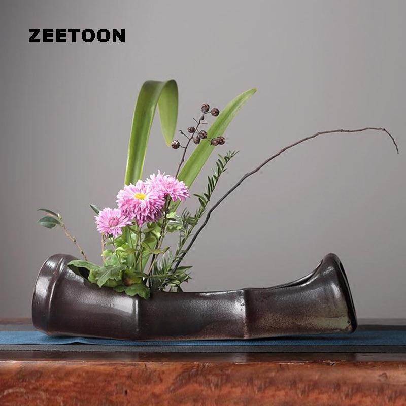Black M Japanese Zen Style Floral Vintage Elegant Vase Ikebana Creative Home Decor Tabletop Hydroponic Bonsai Flower Pot