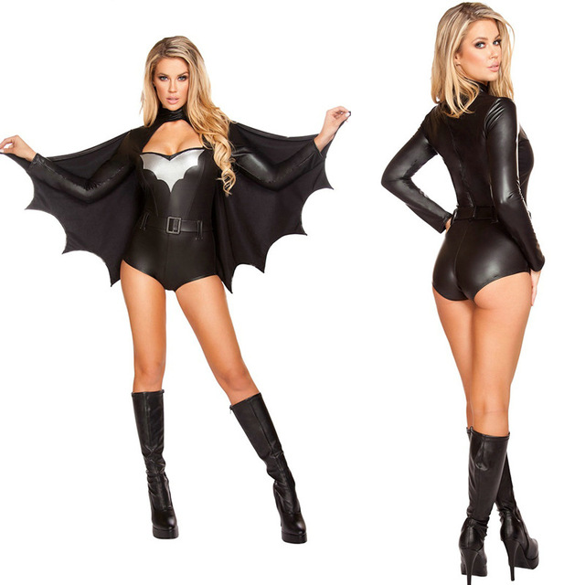 Black adult bat women costume halloween Sexy high quality cosplay costume  outfit game club carnival sexy vampire costume ac28465bf
