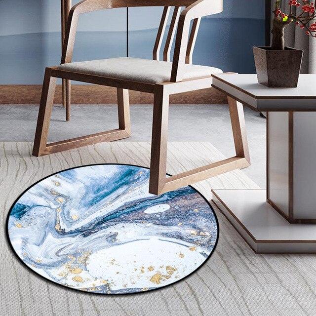 Blue Drift Sand Round Carpet For Bedroom Computer Chair Floor Mat Bedside Rug Hallway Home Decor Door