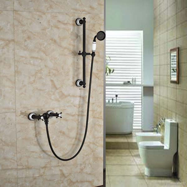 Oil Rubbed Bronze Bathroom Tub Faucet Valve Mixer Tap W/ Hand Shower Sprayer thermostatic valve mixer tap w hand shower tub spout tub faucet chrome finish