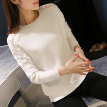 HAO HE SHEN New 2017 Spring Autumn fashion women sweater Hollow out Lace Batwing sleeve sweater women Knitted pullover sweaters