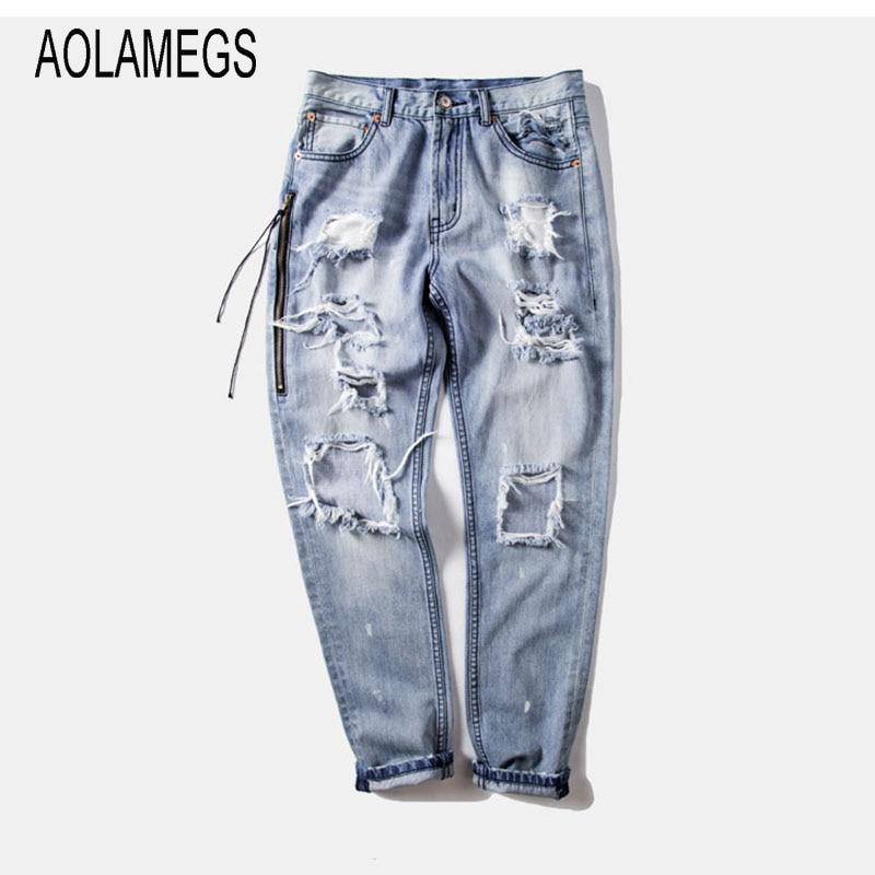 Aolamegs Men Jeans Fashion Distressed Ripped Hole Denim Trousers Hip Hop Side Zipper Design Destroyed Jeans Hot Street Wear nostalgia retro design fashion men jeans european stylish dimensional knee frayed hole destroyed ripped jeans men biker jeans