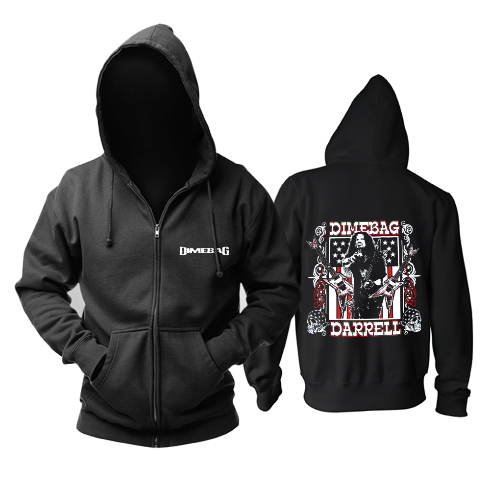 Bloodhoof Free shipping Dimebag Darrel Flag and Stars Heavy metal NEW BLACK  COTTON HOODIE Asian Size-in Hoodies & Sweatshirts from Men's Clothing    1