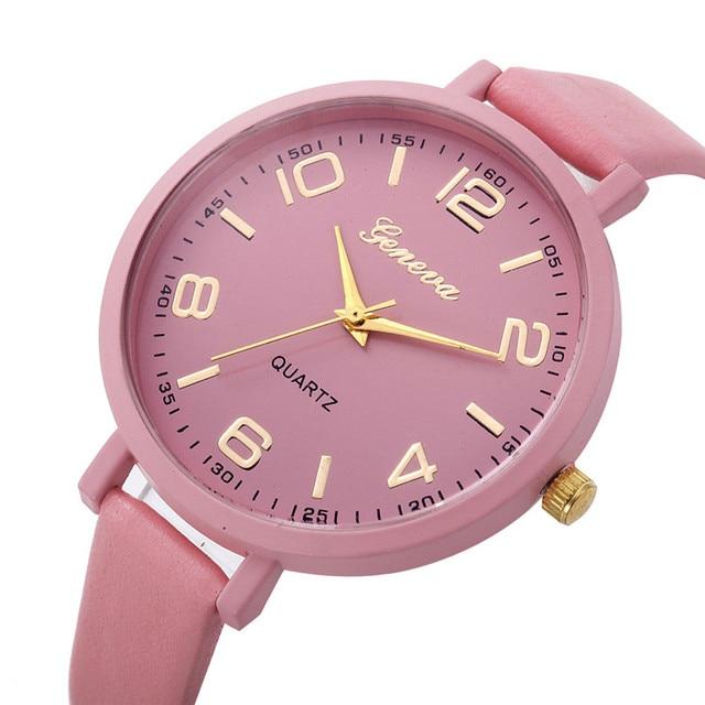 bc4fabfbc85 Mulheres Relógios Das Mulheres Moda Estilo Pulseira De Couro Analógico de  Pulso de Quartzo Senhoras Relógio