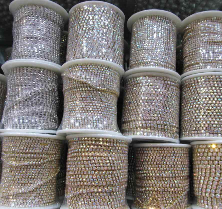 crystal glass ss6-ss38 rhinestones cup chain,clear rhinestones,10 yards/lot,A quality glass shinning rhinestones wholesale trim
