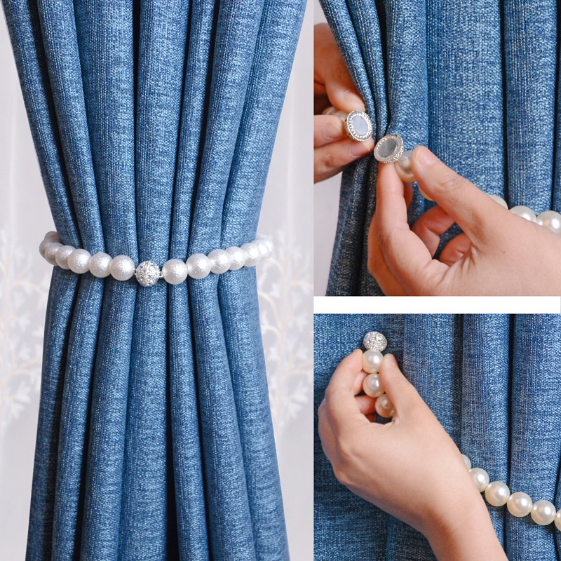 Pearl Magnet Curtain Holders Tieback Clips Magnetic