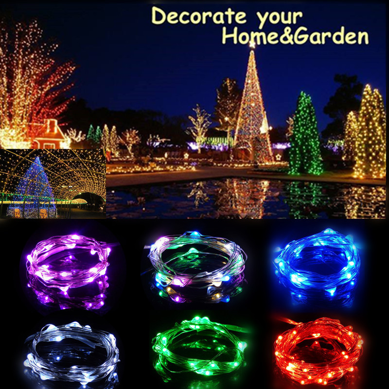 Oobest 2M-5M 9 Colors LED Fairy String Lights Waterproof Copper Wire Light Battery Powered Christmas Decoration Lights
