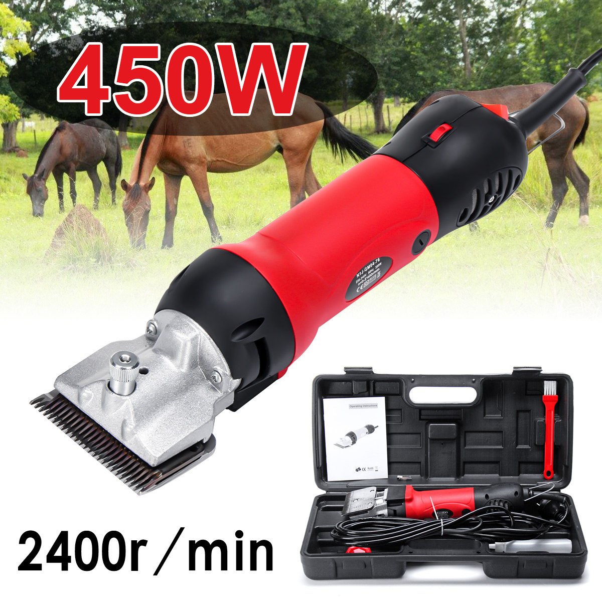 110-240V 450W 2400r/min Professional Electric Animal Horse Camel Dog Sheep Shear Clipper Pet Hair Trimmer Hair Shearing Machine110-240V 450W 2400r/min Professional Electric Animal Horse Camel Dog Sheep Shear Clipper Pet Hair Trimmer Hair Shearing Machine