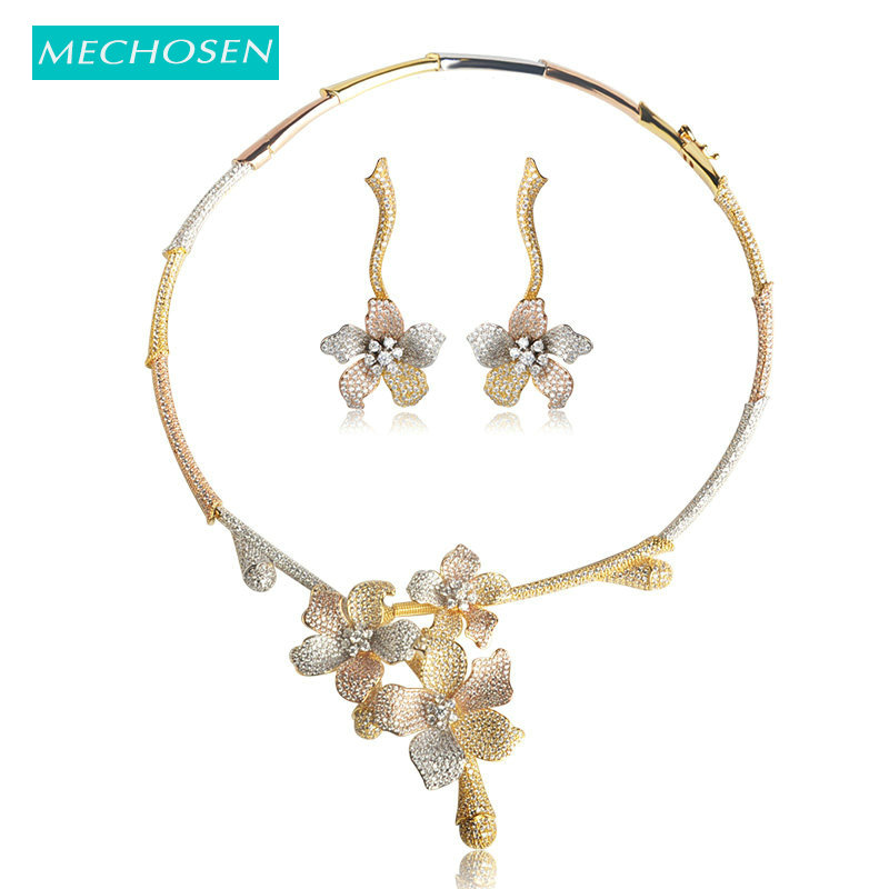 все цены на MECHOSEN Exquisite Women Bridal Wedding Jewelry Sets Necklace Earrings Romantic Flower 3 Tones brinco aretes de mujer soy luna