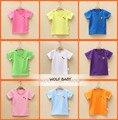 Varejo 1-7years-manga curta T-shirt puro colorido crianças bebê meninos meninas Roupas crianças Roupas Vestuário Infantil verão