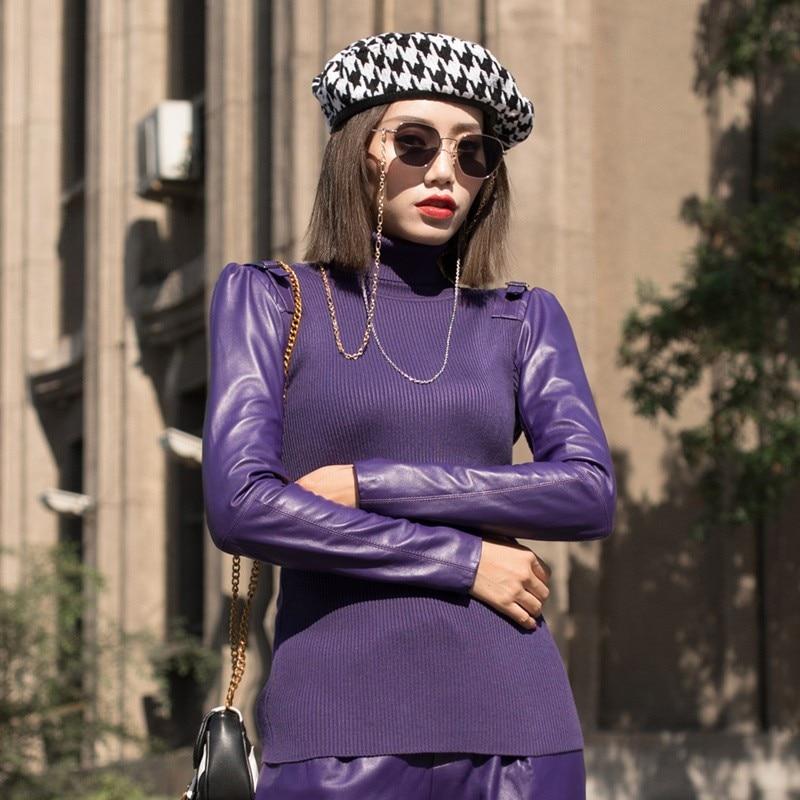 Col En Mode Femmes Cuir Manches Élastique Haute Black purple Mince Chandail Roulé Maigre Boucle brown cou Pulls Hauts Dames Tricoter Nouveau Harajuku À xf8FfwqA