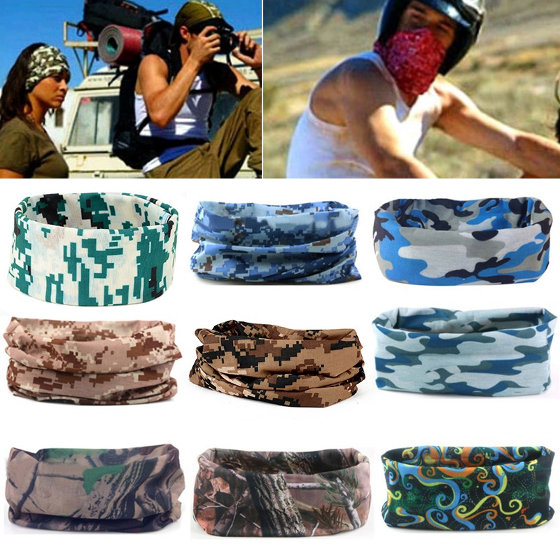 9 Style Camouflage Hiking Scarf Head Bandana Face Mask Neck Snood For Outdoor Camping Cycling Camo Tube Magic Seamless Scarf boxy dc 02 ds wm