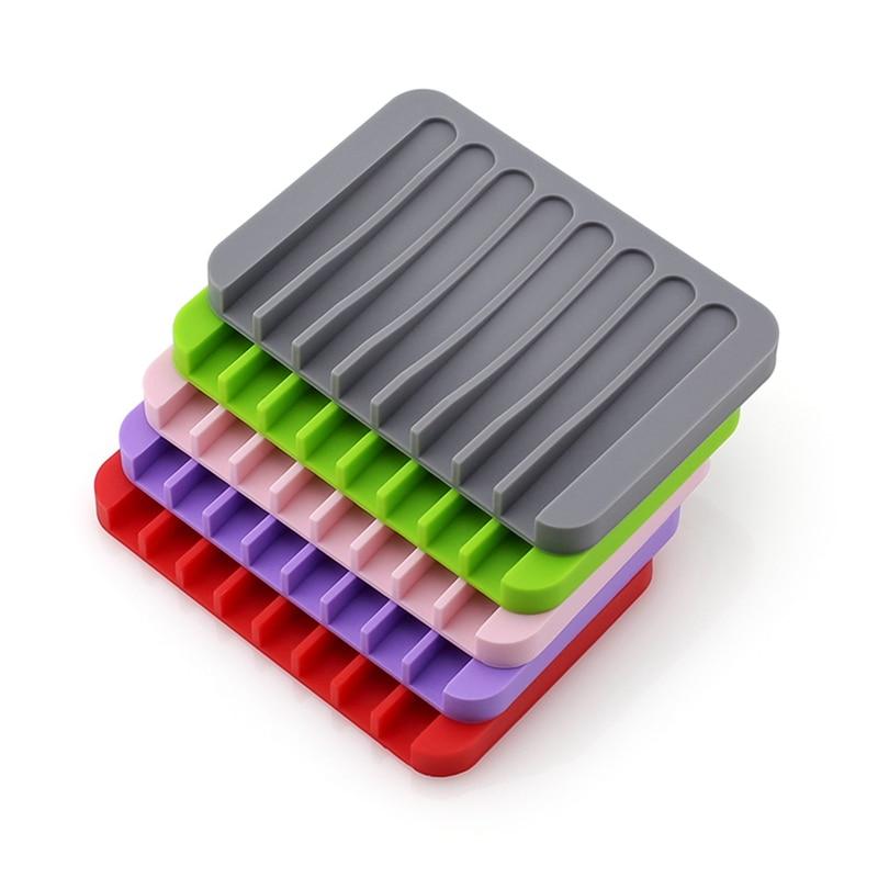13 Colors Fashion Silicone Flexible Soap Dish Plate Bathroom Soap Holder Soap Box