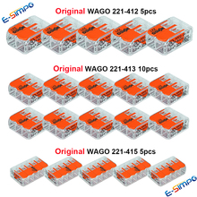 20pcs 221-412 221-413 221-415 Original WAGO Wiring Connector Kit,Compact Splice Quick Disconnect Wire Terminal FreeShi