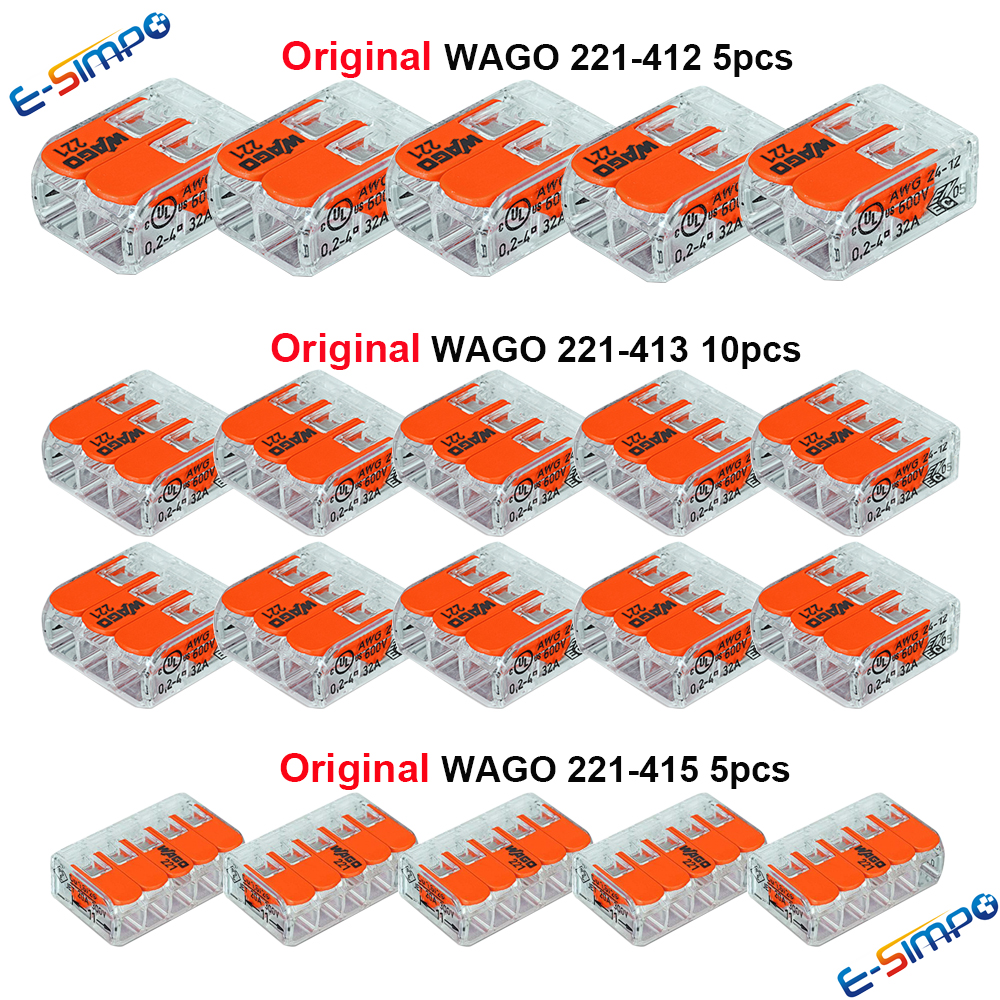 20pcs 221-412 221-413 221-415 Original WAGO Wire Connector Kit,Compact Splice Connector Quick Disconnect WireTerminal CE PSE UL 50pcs wago electric cable connector 3 way reusable original wago 221 413 transparent wire terminals