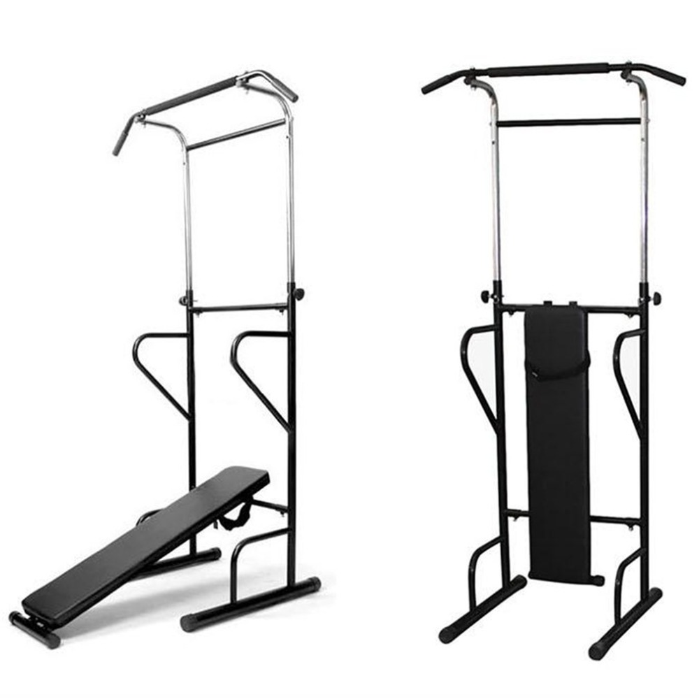 Fitness Power Tower Dip Station Sit Pull Press Chin Up Bench Bar Home Gym Training Device