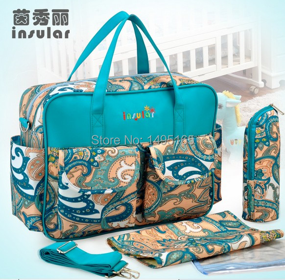 Free shipping Multifunctional waterproof nappy bags large capacity baby diaper bags maternity bag 5pc/set fashion mummy bags