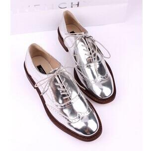 f6d6a5d76435 Online Shop New ladies platform Silver Lace Up Women s Metallic Oxfords  shoes Broques british patent leather Casual flats ZA  shoes
