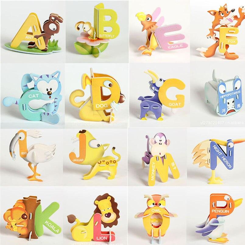 26 piezas alfabeto inglés niños 3D ABC rompecabezas juguetes desarrollo inteligencia rompecabezas para bebés niños educativos Montessori juguete regalo