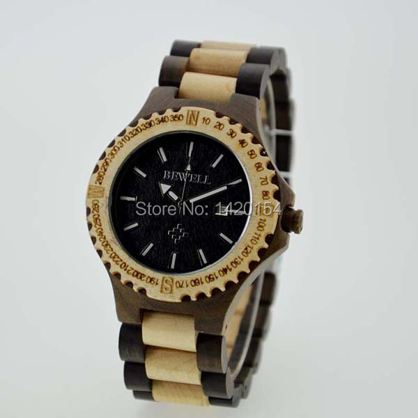 2016 Mens Bewell Maple&Black Sandalwood Wooden Watches Top Brand Luxury 2016 top brand bewell natural handmade sandalwood watch for masculino luxury watches gift reloj mujer zs 100ag