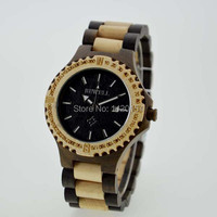Mens Bewell Maple Black Sandalwood Wooden Watches Top Brand Luxury