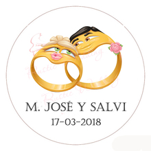 CUSTOM Wedding Bridal Big Mouth Classic Round Sticker, Personalized Wedding Favors decor Labels or Tags,Customized Name and Date