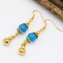 Женские серьги капельки b2623 золотистые синие бусины из нефрита