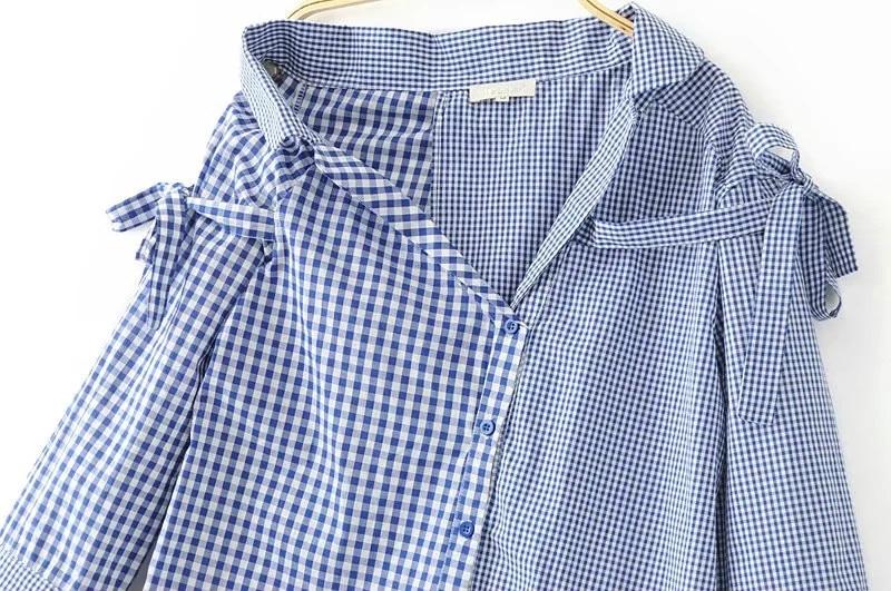 Mode Blouses Irrégulière Longues À Épaules 2017 Bretelles Dames Manches Chemise Sans Carreaux D'été Lâche Top Bleu Corps Femmes OOqwr1Hgp