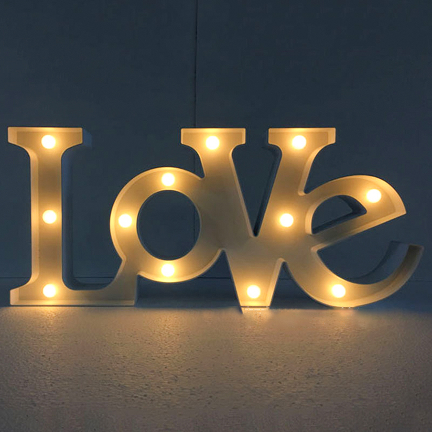 цена  Novelty Letter LED Light 3D Alphabet LOVE HOME Night Lights Creative Romantic Wedding Decorative Party Lighting Lamps Lantern  онлайн в 2017 году