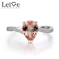 Leige Jewelry Natural Morganite Ring Sterling Silver 925 Fine Jewelry Pear Shaped Engagement Rings For Women
