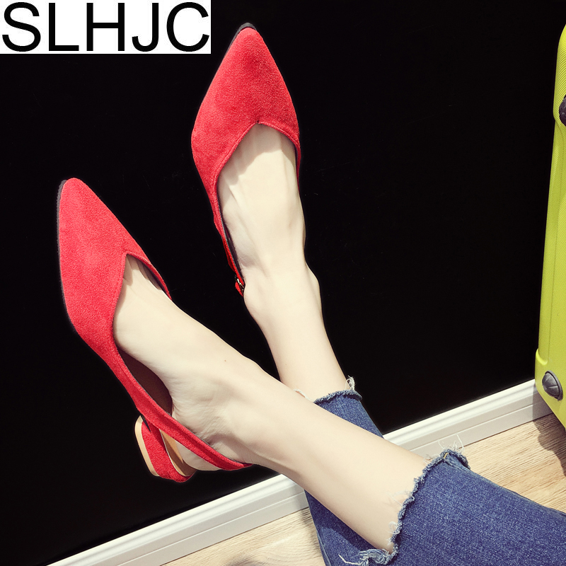 SLHJC Promotion Summer Low Heels Sandals Pointed Toe Slip On Shallow V Mouth Pumps Women Shoes 2018 Newest 3 CM Heel 2018 spring summer low heel sandals pointed toe shallow mouth women shoes woman cozy casual shoes leisure single ladies shoes cy