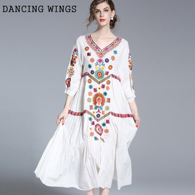 756cb0d126d Summer Dress Women 2019 Bohemian Style Vintage Embroidery Cotton Linen Long  Dress Loose Large Size White Beach Dress