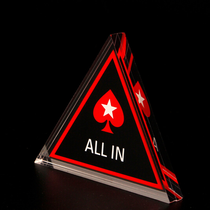 Poker All In Button Triangle Acrylic All In Button Texas Hold 39 em PokerStars Poker Cards Guard Poker Chips Climbing Accessories in Climbing Accessories from Sports amp Entertainment