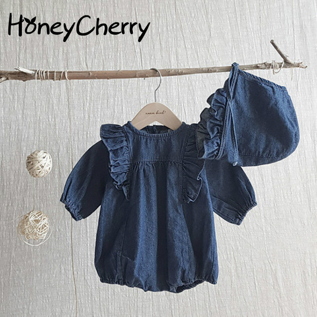 a6c67a011a8 2019 Autumn Baby romper Cowboy Conjoined Clothes Long Sleeves Lovely Girls  Flying Sleeves Baby Girl Clothes