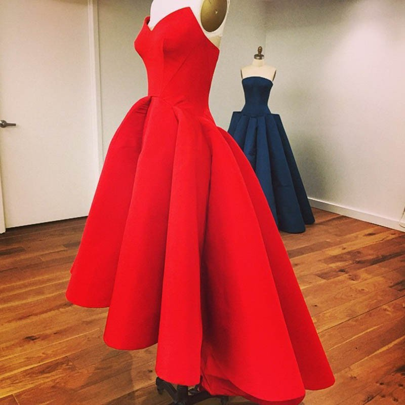 2016-High-Low-Red-Prom-Dresses-Sexy-Strapless-Cheap-Satin-Short-Front-Long-Back-Party-Dress