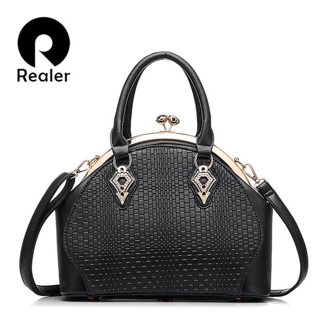 REALER  Дизайнерская сумка модная дамская сумочка, черная белая красная абрикос 5 цветов твердая женская курьерская сумка из pu кожи