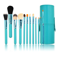 Light Blue Professional Makeup Brush Set 12Pcs Kit PU Leather Cup Holder Case Kit Pro Women
