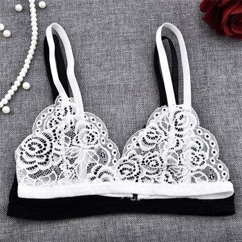 цена на Sexy Women Floral Sheer Lace Triangle Bralette Bra Crop Top Bustier Unpadded Mesh Lined